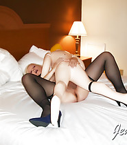 Shemale MILF Jenny TS in hardcore sex with inflatable doll