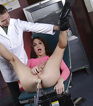 Jonelle testing a fuck machine at doctor's